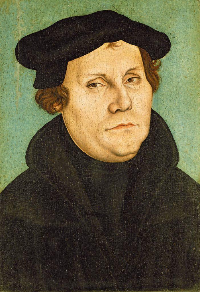 "obraz Lucasa Cranacha starszego, ""Marcin Luter"" (1528), Wikimeidia Commonns"